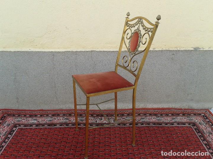Antigüedades: silla antigua de metal estilo isabelino, silla metálica isabelina retro vintage, silla descalzadora - Foto 8 - 78695665