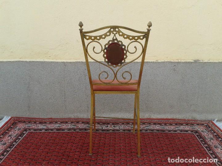 Antigüedades: silla antigua de metal estilo isabelino, silla metálica isabelina retro vintage, silla descalzadora - Foto 9 - 78695665