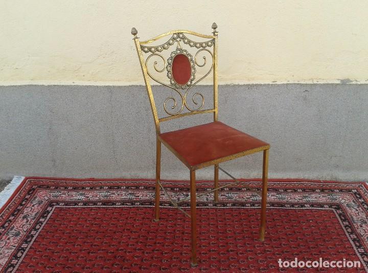 Antigüedades: silla antigua de metal estilo isabelino, silla metálica isabelina retro vintage, silla descalzadora - Foto 10 - 78695665