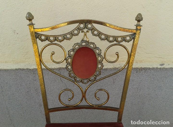 Antigüedades: silla antigua de metal estilo isabelino, silla metálica isabelina retro vintage, silla descalzadora - Foto 11 - 78695665