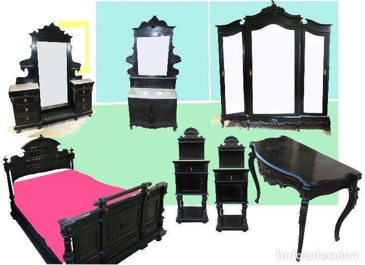 Antigüedades: Dormitorio antiguo en color negro COMPLETO - Foto 6 - 68145389