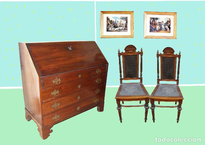 Bureau antiguo escritorio de nogal con cajone comprar
