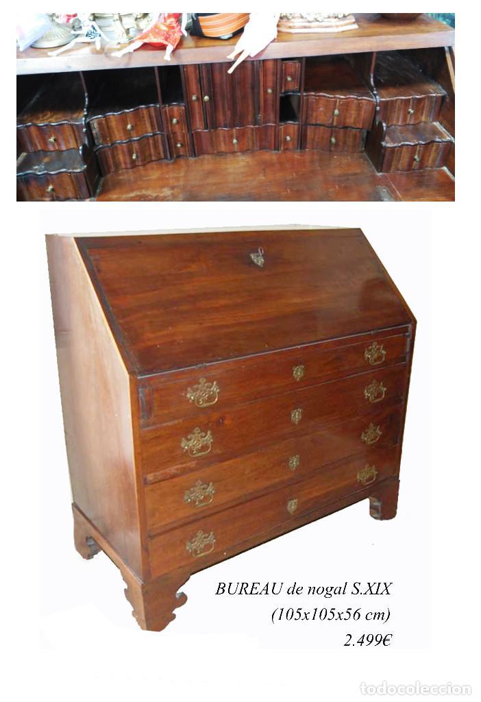 Antigüedades: Bureau antiguo / escritorio de nogal con cajones secretos, S. XIX / aparador / OLD DESK - Foto 2 - 78938085