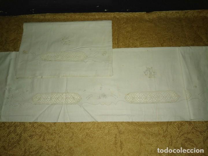 ANTIGUA SÁBANA BORDADA (Antigüedades - Hogar y Decoración - Sábanas Antiguas)