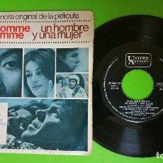 Discos de vinilo: UN HOMME ET UNE FEMME (UN HOMBRE Y UNA MUJER) NICOLE CROISILLE Y PIERRE BAROUH 45 RPM. Lote 78947741