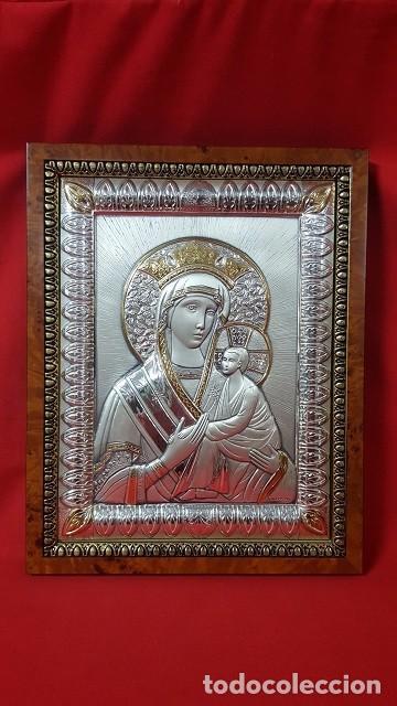 VIRGEN CON EL NIÑO. ICONO EN PLATA DE LEY DE 925 SOBRE MADERA. (Antigüedades - Religiosas - Orfebrería Antigua)