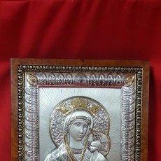 Antigüedades: VIRGEN CON EL NIÑO. ICONO EN PLATA DE LEY DE 925 SOBRE MADERA. . Lote 79061141
