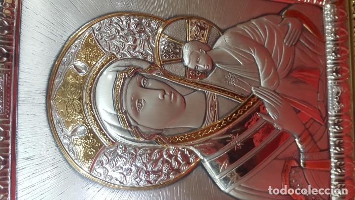 Antigüedades: Virgen con el Niño. Icono en plata de ley de 925 sobre madera. - Foto 3 - 79061141