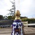 Antigüedades: ANTIGUO QUINQUE EN PORCELANA DE SEVRES AZUL COBALTO PRECIOSA DEL SIGLO XIX PERFECTO ESTADO FUNCIONAL. Lote 79074745