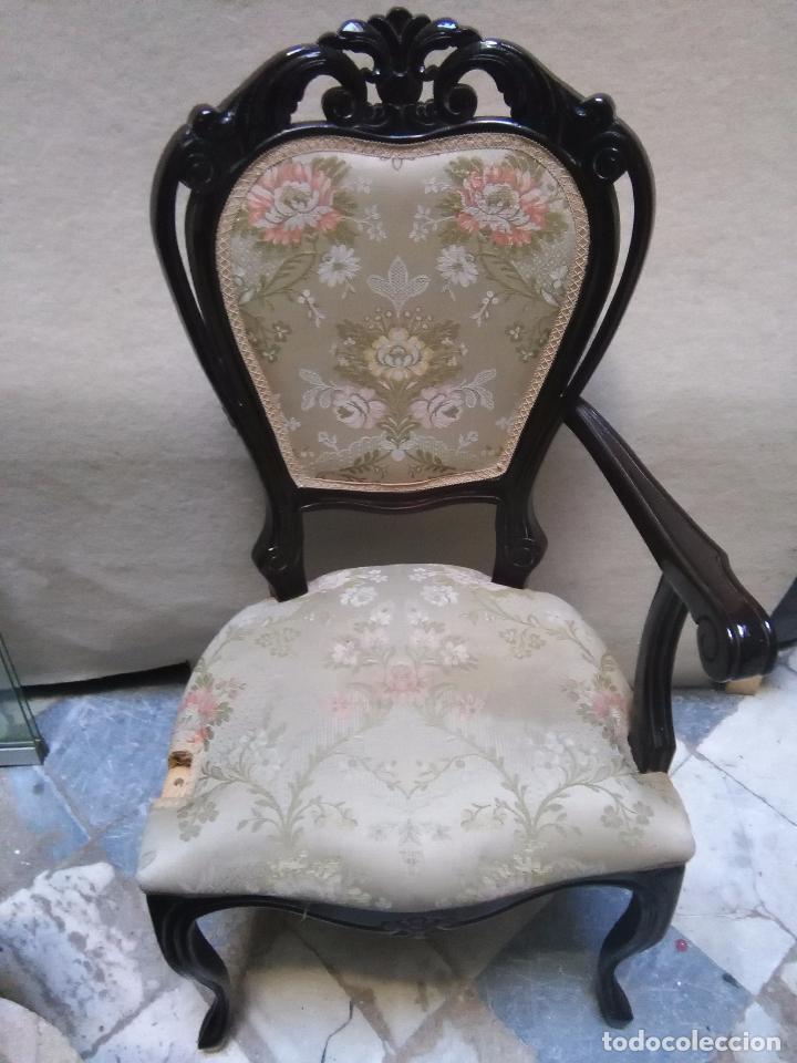 Antigüedades: preciosa silla sillon salon madera tallada para restaura con precioso tapizado brocado . leer mas - Foto 2 - 82491979