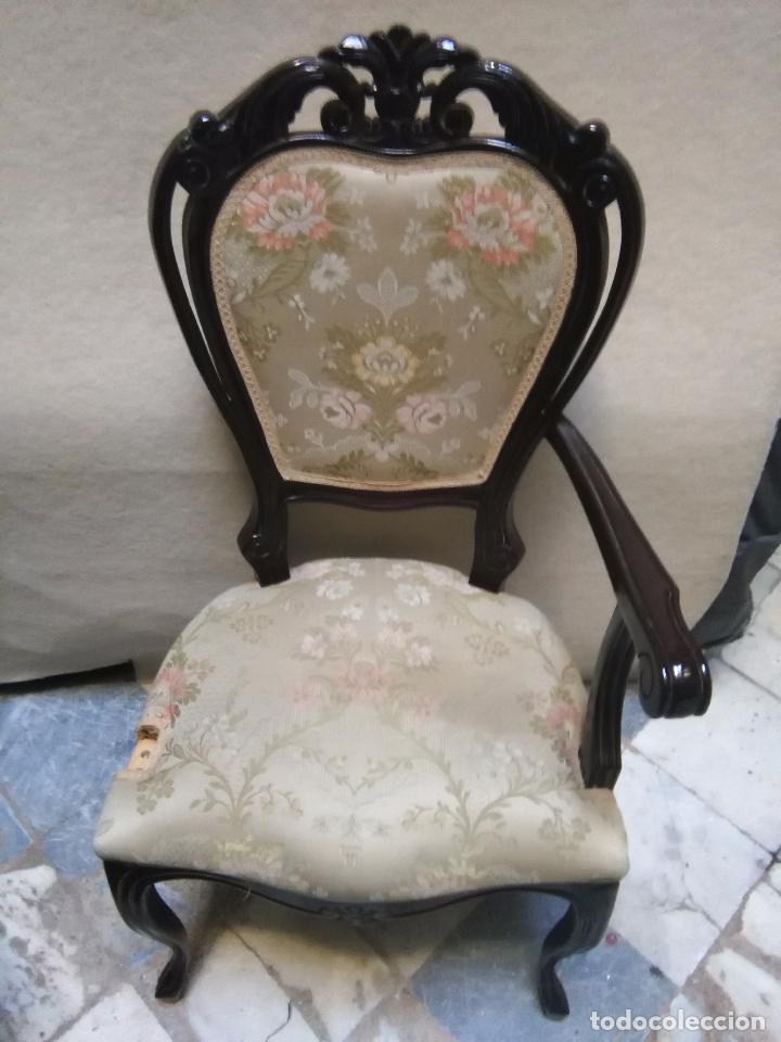 Antigüedades: preciosa silla sillon salon madera tallada para restaura con precioso tapizado brocado . leer mas - Foto 3 - 82491979