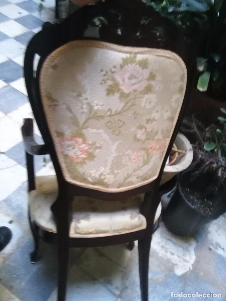 Antigüedades: preciosa silla sillon salon madera tallada para restaura con precioso tapizado brocado . leer mas - Foto 4 - 82491979