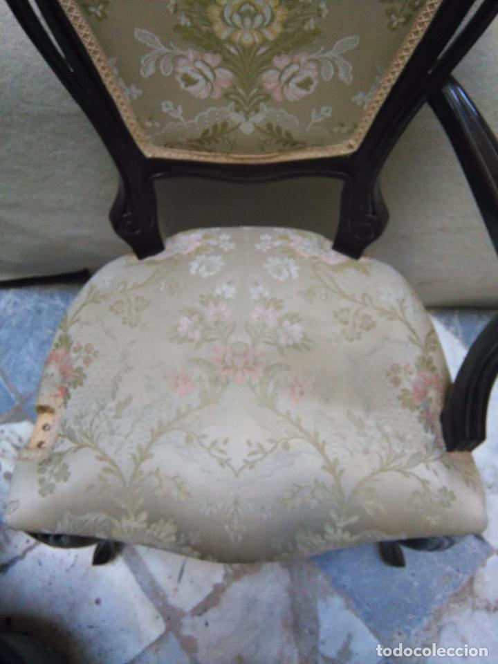 Antigüedades: preciosa silla sillon salon madera tallada para restaura con precioso tapizado brocado . leer mas - Foto 8 - 82491979