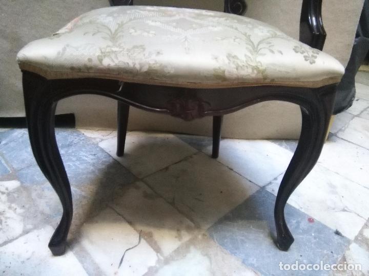 Antigüedades: preciosa silla sillon salon madera tallada para restaura con precioso tapizado brocado . leer mas - Foto 9 - 82491979
