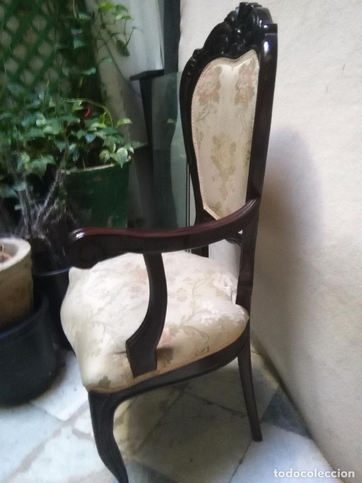 Antigüedades: preciosa silla sillon salon madera tallada para restaura con precioso tapizado brocado . leer mas - Foto 10 - 82491979