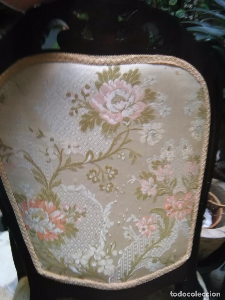 Antigüedades: preciosa silla sillon salon madera tallada para restaura con precioso tapizado brocado . leer mas - Foto 13 - 82491979