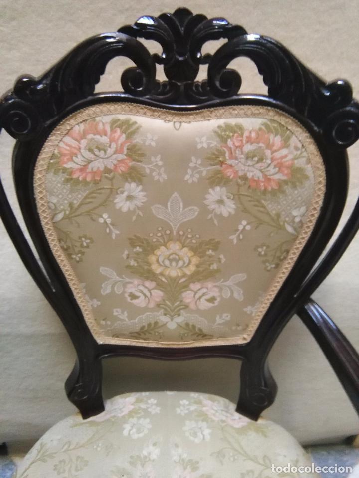 Antigüedades: preciosa silla sillon salon madera tallada para restaura con precioso tapizado brocado . leer mas - Foto 17 - 82491979