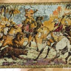 Antigüedades: TAPIZ ESCENA DE CAZA TONOS DORADOS. Lote 79099837