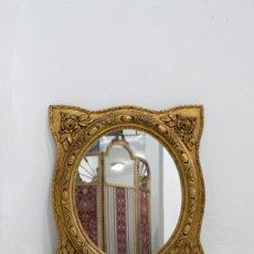 Antigüedades: ESPEJO DE MADERA OVALADO CUATRO PICOS.. Lote 79101281