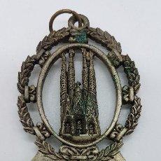 Antigüedades: ANTIGUA BENDITERA EN METAL DE LA SAGRADA FAMILIA. Lote 79110709