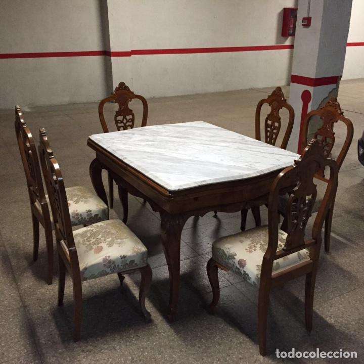Mesa desplegable m rmol y madera y 6 sillas tap comprar - Mesas de marmol precios ...