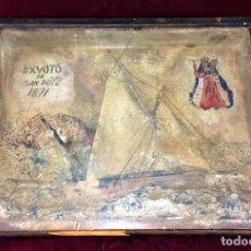 Antigüedades: EX-VOTO. BARCO EN DIORAMA. MADERA CARTON CORCHO.PINTURA. ESPAÑA. XIX-XX. Lote 79289969