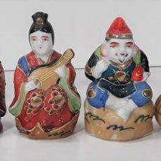Antigüedades: CONJUNTO DE 6 DIOSES DE LA SUERTE SHICHIFUKUJIN. PORCELANA. ESMALTADA. JAPÓN. CIRCA 1950.. Lote 79292581