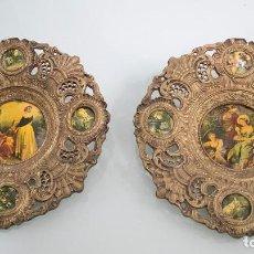 Antigüedades: PAREJA DE PLATOS DECORATIVOS EN BRONCE.. Lote 79322273