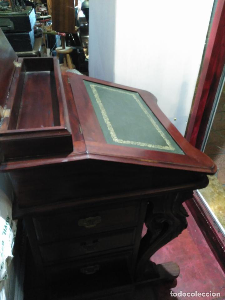 Antigüedades: ANTIGUO Y Precioso escritorio davenport CAOBA 8 cajones laterales 8 CAJONES en pupitre SIGLO XIX - Foto 2 - 66481431
