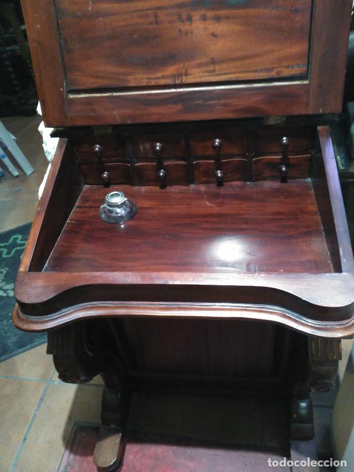 Antigüedades: ANTIGUO Y Precioso escritorio davenport CAOBA 8 cajones laterales 8 CAJONES en pupitre SIGLO XIX - Foto 5 - 66481431