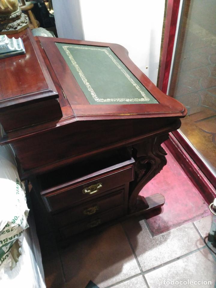 Antigüedades: ANTIGUO Y Precioso escritorio davenport CAOBA 8 cajones laterales 8 CAJONES en pupitre SIGLO XIX - Foto 8 - 66481431