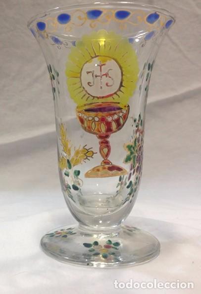CÁLIZ CRISTAL ESMALTADO - FIRMADO CIRERA (Antigüedades - Cristal y Vidrio - Catalán)