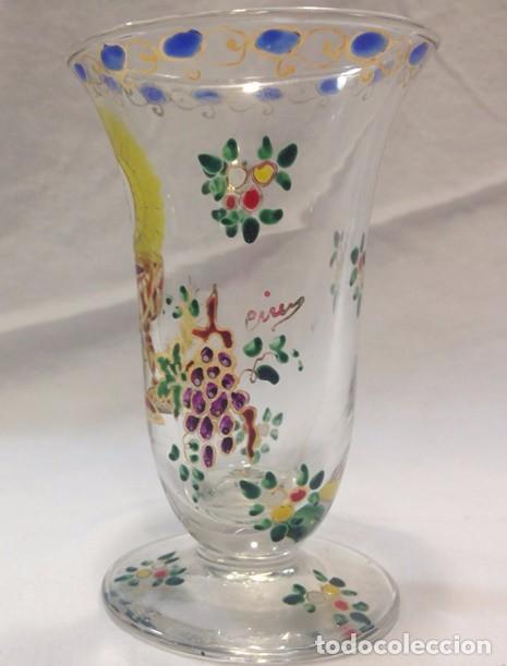 Antigüedades: Cáliz cristal esmaltado - firmado Cirera - Foto 2 - 79512733