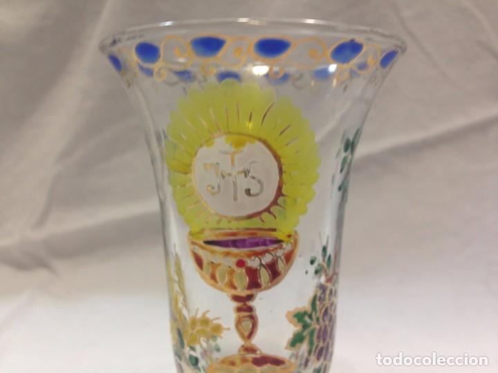 Antigüedades: Cáliz cristal esmaltado - firmado Cirera - Foto 5 - 79512733