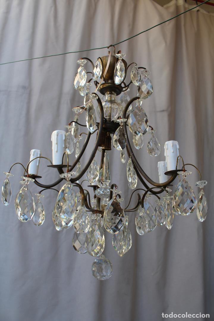 LAMPARA DE TECHO EN BRONCE CON CRISTALES DE ROCA (Antigüedades - Iluminación - Lámparas Antiguas)