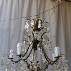 Antigüedades: LAMPARA DE TECHO EN BRONCE CON CRISTALES DE ROCA. Lote 79560117