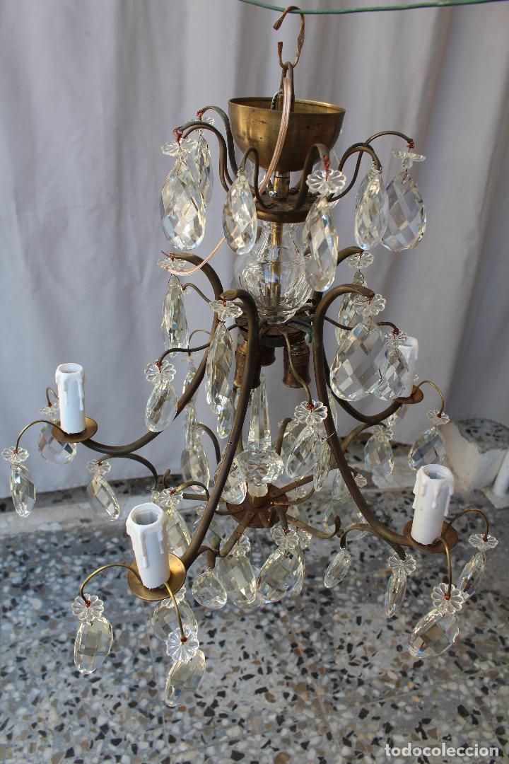 Antigüedades: lampara de techo en bronce con cristales de roca - Foto 2 - 79560117