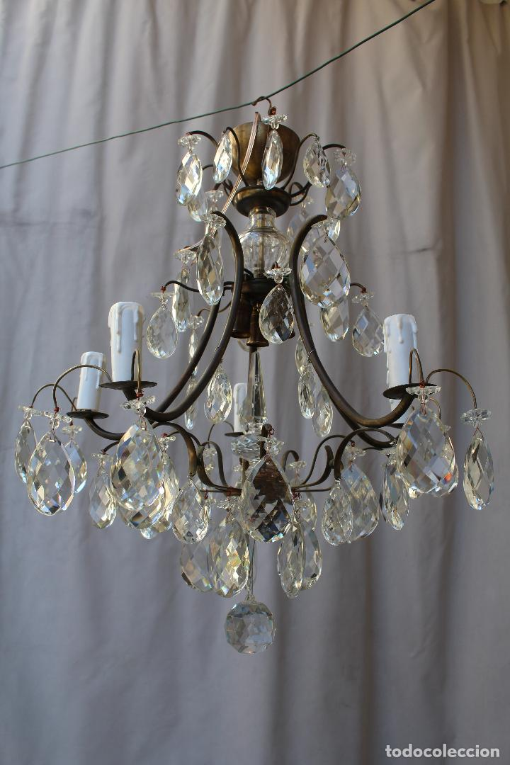 Antigüedades: lampara de techo en bronce con cristales de roca - Foto 3 - 79560117