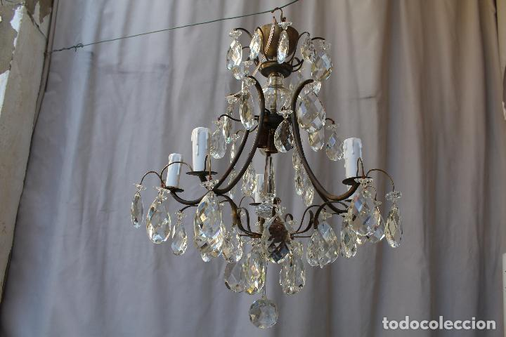 Antigüedades: lampara de techo en bronce con cristales de roca - Foto 4 - 79560117