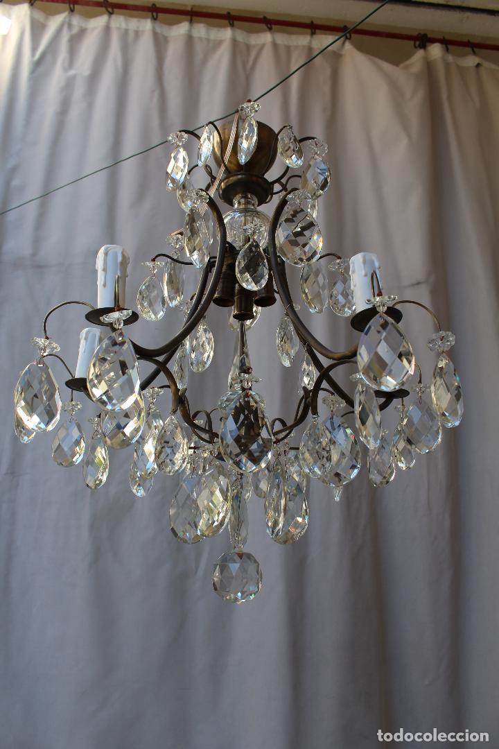 Antigüedades: lampara de techo en bronce con cristales de roca - Foto 5 - 79560117