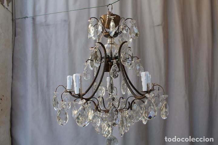 Antigüedades: lampara de techo en bronce con cristales de roca - Foto 6 - 79560117