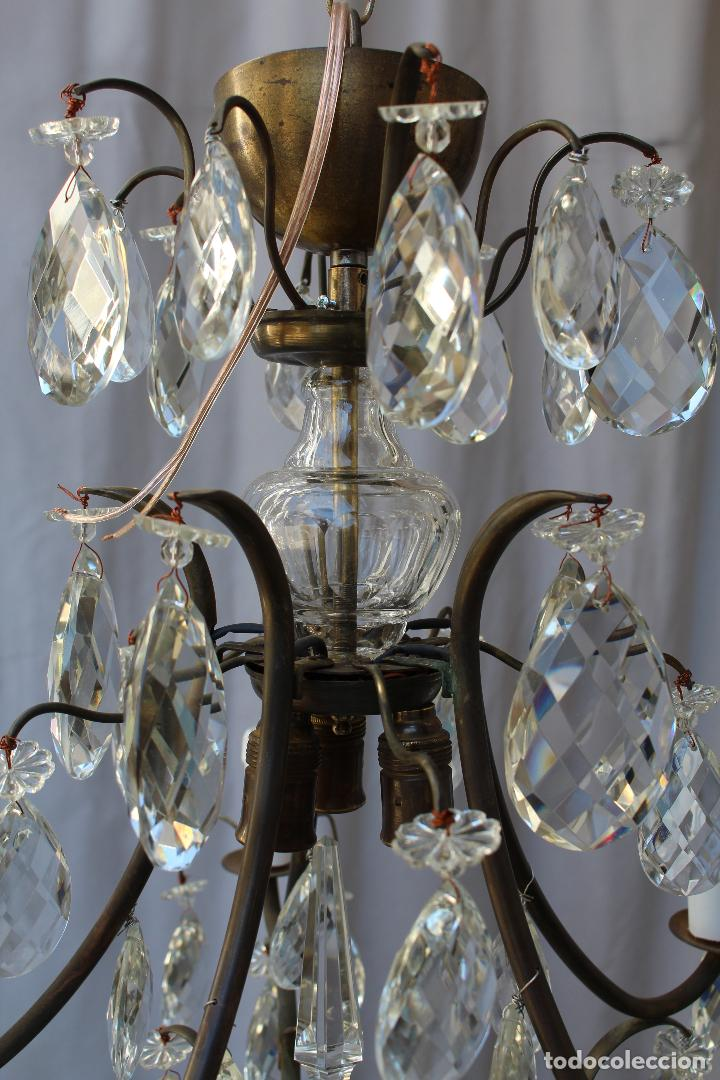 Antigüedades: lampara de techo en bronce con cristales de roca - Foto 7 - 79560117