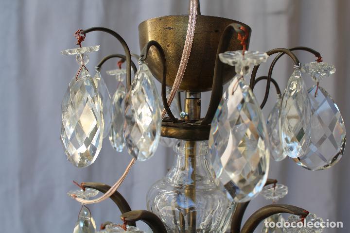 Antigüedades: lampara de techo en bronce con cristales de roca - Foto 8 - 79560117