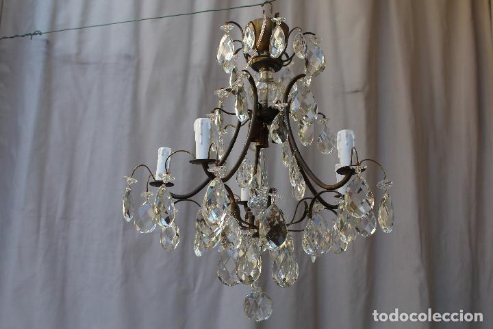 Antigüedades: lampara de techo en bronce con cristales de roca - Foto 10 - 79560117