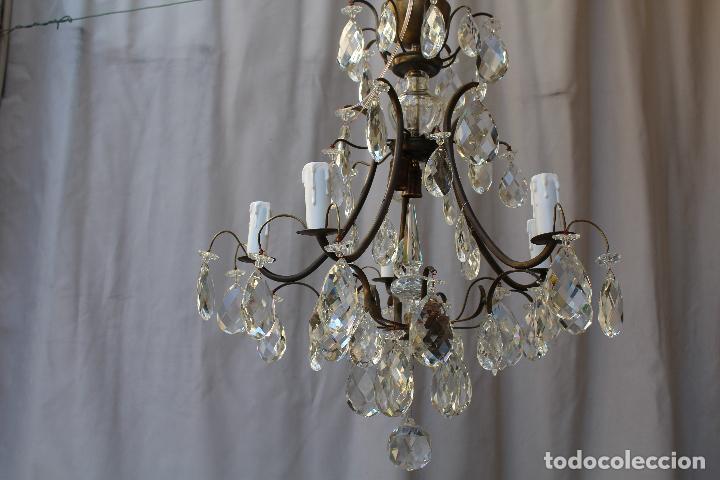 Antigüedades: lampara de techo en bronce con cristales de roca - Foto 11 - 79560117