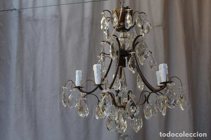 Antigüedades: lampara de techo en bronce con cristales de roca - Foto 12 - 79560117