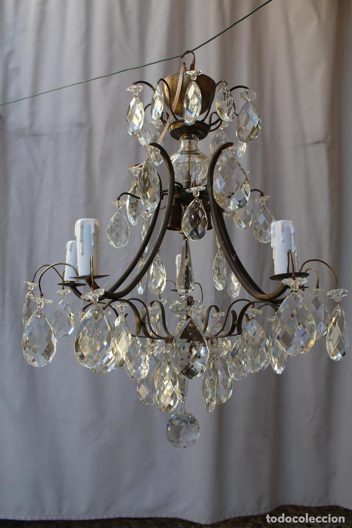 Antigüedades: lampara de techo en bronce con cristales de roca - Foto 13 - 79560117