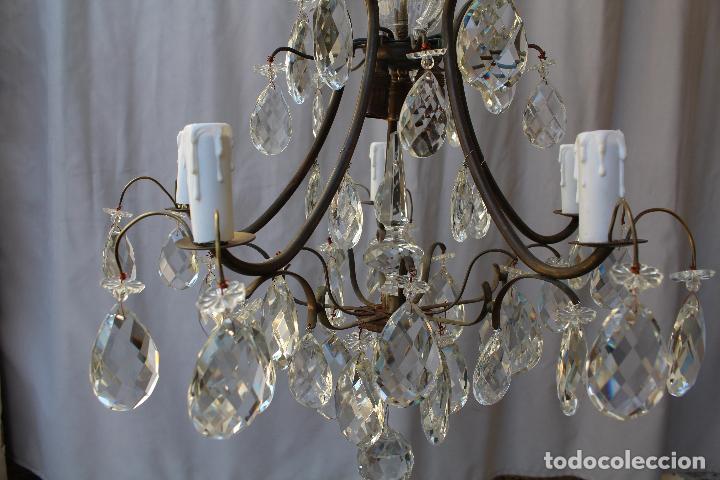 Antigüedades: lampara de techo en bronce con cristales de roca - Foto 14 - 79560117