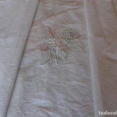 Antigüedades: MUY ANTIGUA FUNDA DE ALMOHADA BORDADA A MANO CON CALADO. SIN ESTRENAR.. Lote 79571097