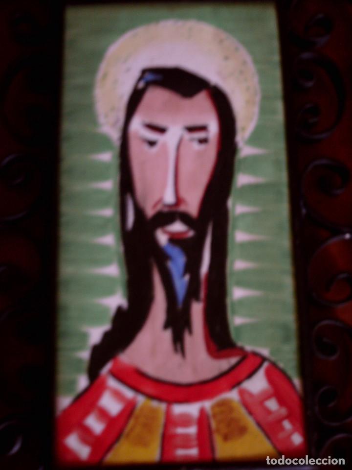 AZULEJO DE RIBESALBES PINTADO A MANO Y ENMARCADO EN FORJA, MIDE 15 X 7,5, CON MARCO 24 X 17 CM. (Antigüedades - Porcelanas y Cerámicas - Ribesalbes)